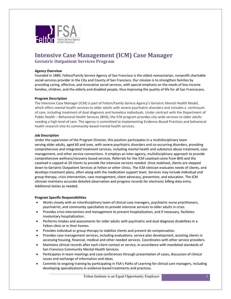 Intensive Case Management (ICM) Case Manager Geriatric ... |Outpatient Case Management
