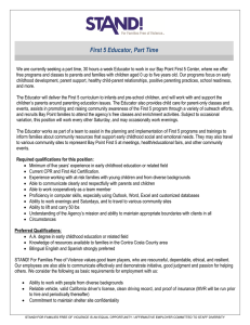 First 5 Educator, Part Time