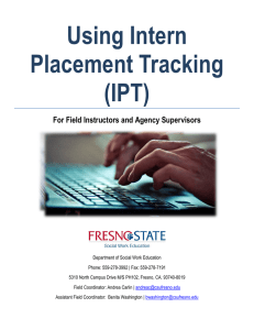 Using Intern Placement Tracking (IPT) For Field Instructors and Agency Supervisors