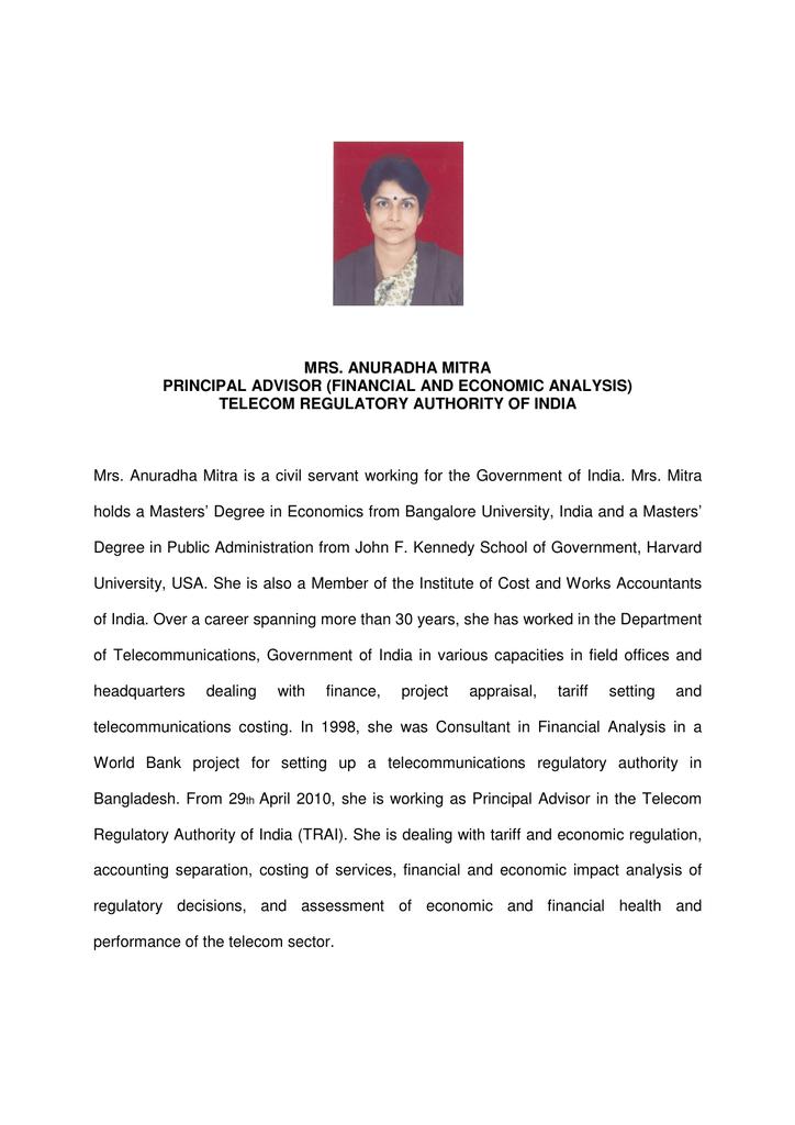 MRS  ANURADHA MITRA PRINCIPAL ADVISOR (FINANCIAL AND ECONOMIC ANALYSIS)