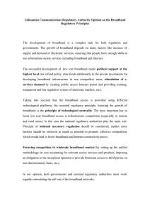 Lithuanian Communications Regulatory Authority Opinion on the Broadband Regulatory Principles