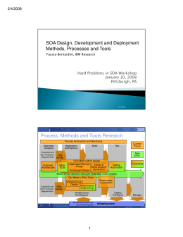 SOA Design, Development and Deployment Methods, Processes and Tools