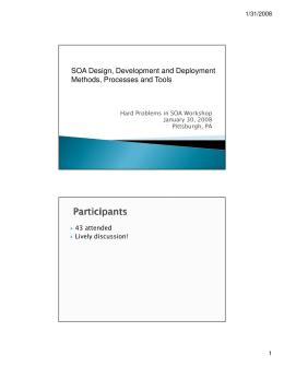 SOA Design, Development and Deployment Methods, Processes and Tools 43 attended Lively discussion!