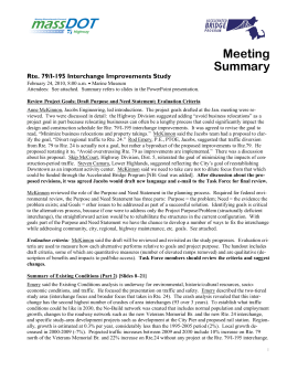 Meeting Summary Rte. 79/I-195 Interchange Improvements Study