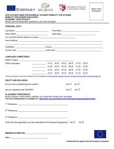 APPLICATION FORM FOR ERASMUS+ STUDENT MOBILITY FOR STUDIES ACADEMIC YEAR 2016/2017