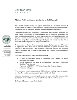 Multiple Ph.D. positions in Mechanics of Soft Materials