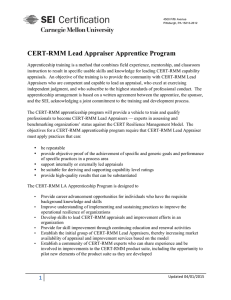 CERT-RMM Lead Appraiser Apprentice Program