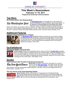 This Week's Newsmakers Top Story –18, 2011 February 11