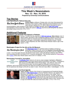 This Week's Newsmakers Top Stories – Nov. 19, 2010 Nov. 12