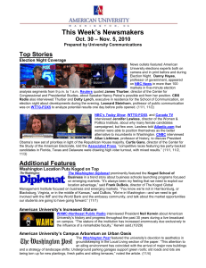 This Week's Newsmakers Top Stories – Nov. 5, 2010 Oct. 30