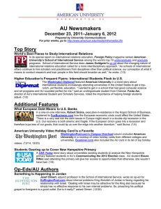 AU Newsmakers Top Story –January 6, 2012