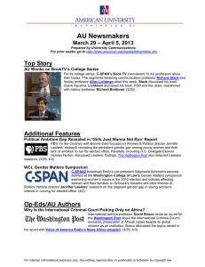 AU Newsmakers Top Story Additional Features – April 5, 2013