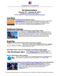 AU Newsmakers Top Story – January 25, 2013 January 18