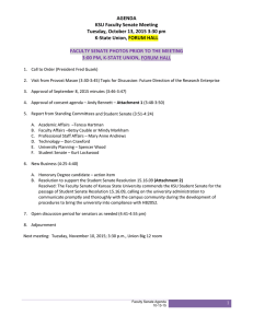 AGENDA  KSU Faculty Senate Meeting  Tuesday, October 13, 2015 3:30 pm  K‐State Union, FORUM HALL
