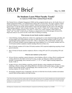 IRAP Brief  Do Students Learn What Faculty Teach? May