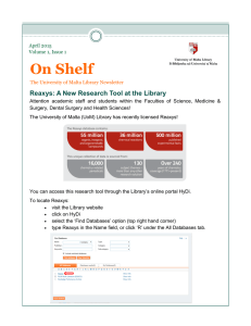 On Shelf Reaxys: A New Research Tool at the Library