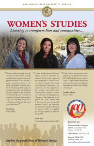 WOMEN S  STUDIES ' Learning to transform lives and communities …