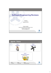 Software Engineering Reviews  autumn 2013