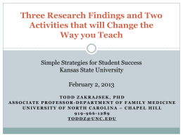 Three Research Findings and Two Activities that will Change the