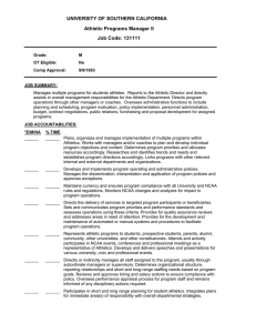 UNIVERSITY OF SOUTHERN CALIFORNIA Athletic Programs Manager II Job Code: 131111