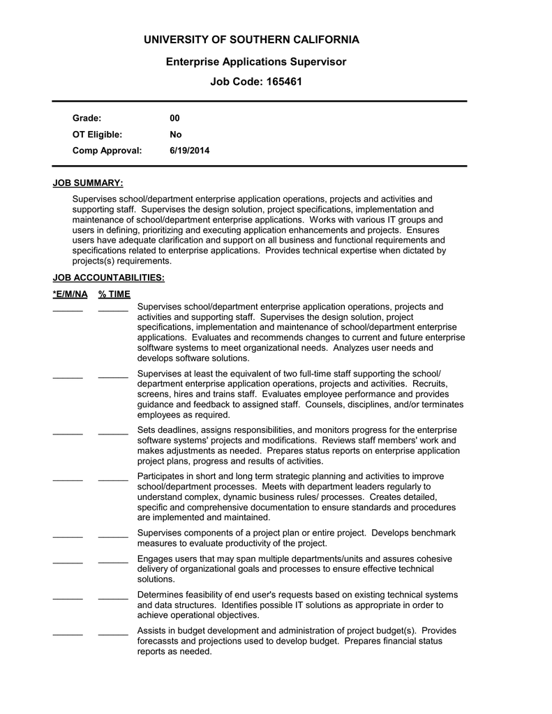 university of southern california enterprise applications supervisor