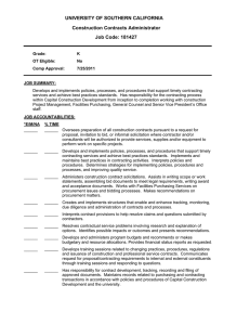 UNIVERSITY OF SOUTHERN CALIFORNIA Construction Contracts Administrator Job Code: 181427