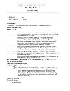 UNIVERSITY OF SOUTHERN CALIFORNIA Clinical Lab Technician Job Code: 187115