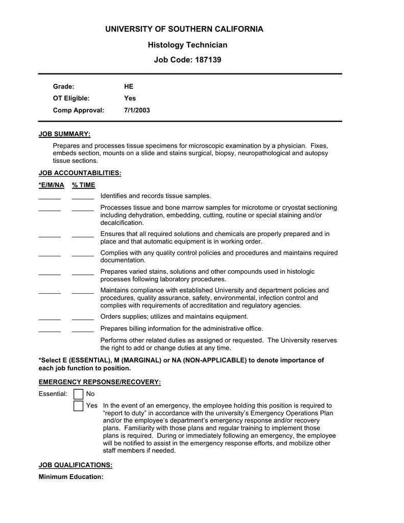 University Of Southern California Histology Technician Job Code 187139