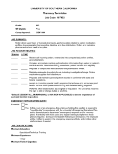 UNIVERSITY OF SOUTHERN CALIFORNIA Pharmacy Technician Job Code: 187403