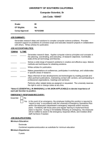 UNIVERSITY OF SOUTHERN CALIFORNIA Computer Scientist, Sr Job Code: 199407
