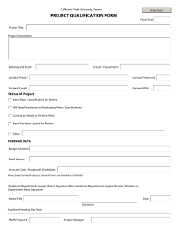 PROJECT QUALIFICATION FORM