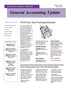 FY15 Year End Training Schedule
