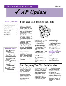 AP Update  FY14 Year End Training Schedule