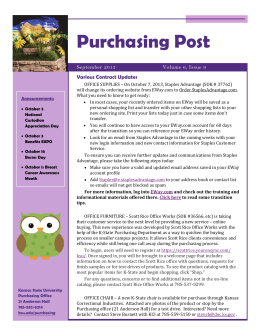Purchasing Post Various Contract Updates Volume 6, Issue 9 September 2013