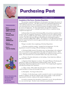Purchasing Post Completion of the Forms—Purchase Requisition Volume 7, Issue 9 September 2014