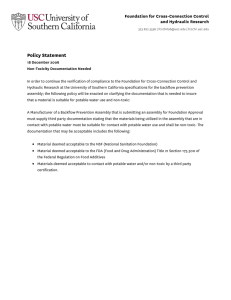 Policy Statement Foundation for Cross-Connection Control and Hydraulic Research