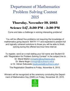 Department of Mathematics Problem Solving Contest 2015