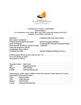 Commission on Teacher Credentialing Biennial Report Academic Years 2010-11 and 2011-12