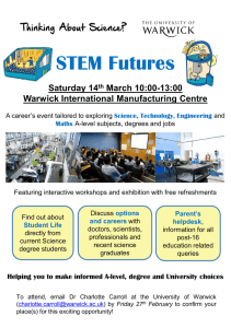 STEM Futures Saturday 14 March 10:00-13:00 Warwick International Manufacturing Centre