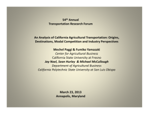 54 Annual Transportation Research Forum An Analysis of California Agricultural Transportation: Origins,