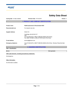 Safety Data Sheet 1. PRODUCT AND COMPANY IDENTIFICATION
