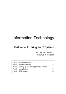 Information Technology Outcome 1: Using an IT System