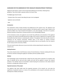 GUIDELINESFORTHESUBMISSIONOFPOST‐GRADUATERESEARCH/PROJECTPROPOSALS