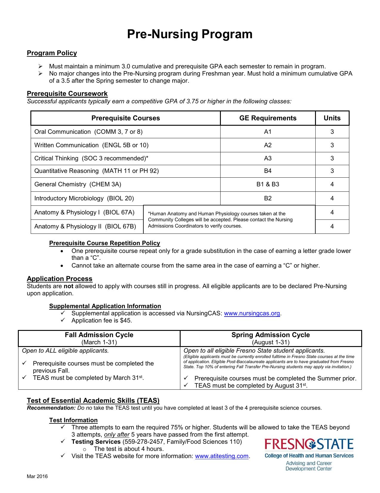 Pre-Nursing Program Program Policy