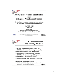 A Simple and Flexible Specification  Enterprise Architecture Practice for an