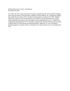 Deloitte Report Cover Letter / Introduction November 19, 2009