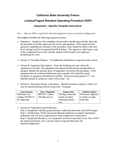 California State University Fresno Lockout/Tagout Standard Operating Procedure (SOP)