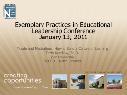 Exemplary Practices in Educational Leadership Conference January 13, 2011