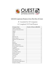 QUEST Capstone Projects Over The Past 10 Years