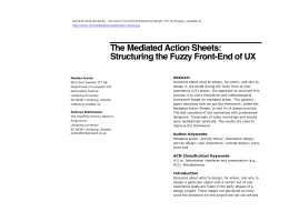 The Mediated Action Sheets: Structuring the Fuzzy Front-End of UX Abstract